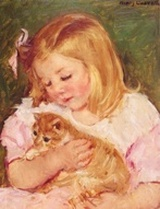 Mary Cassatt 'Sara Holding a Cat' painting 1908